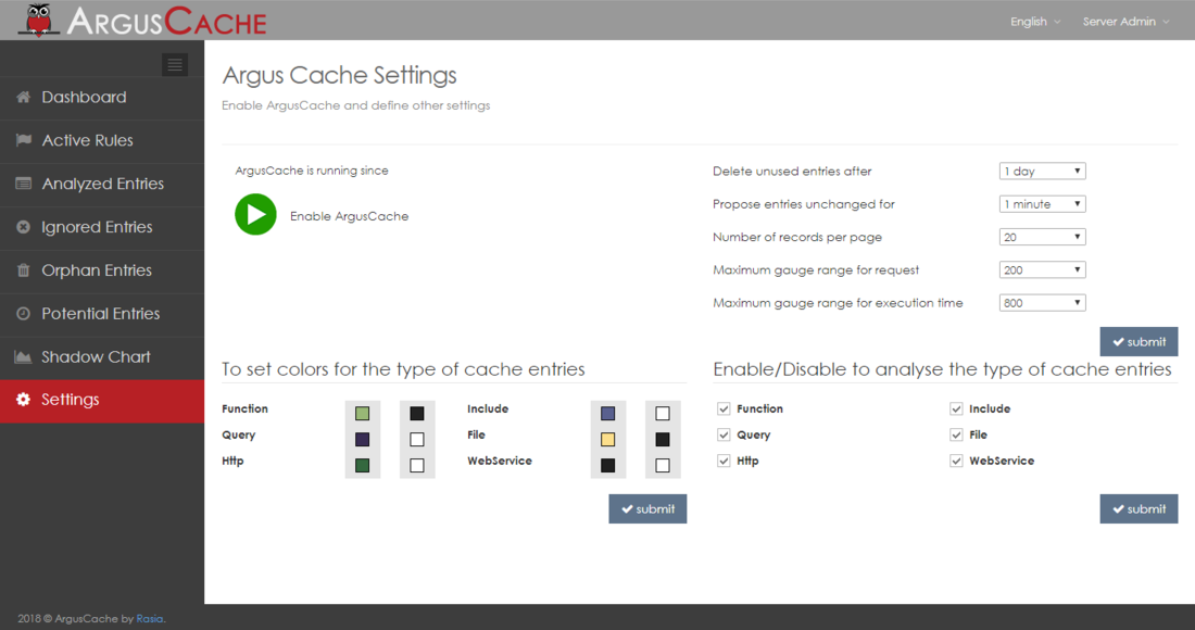 The ArgusCache settings page